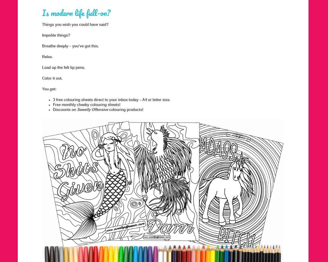 Custom landing page copy for adult coloring pages