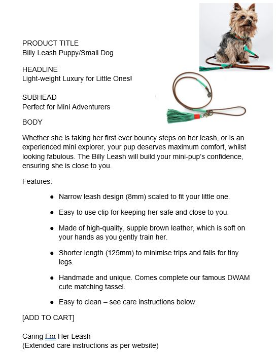 copywriting for pet care websites